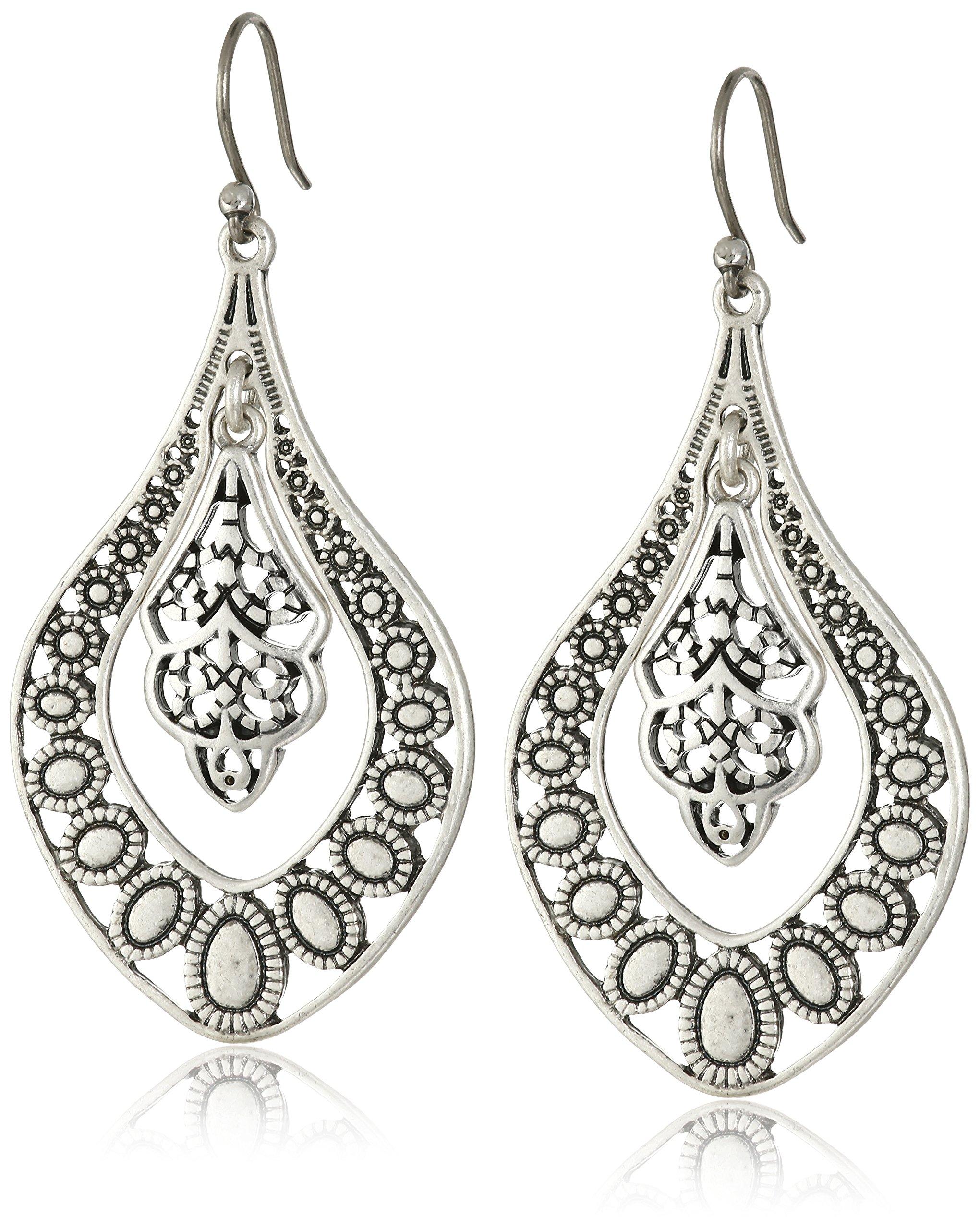 Lucky Brand Silver Filigree Oblong Earrings