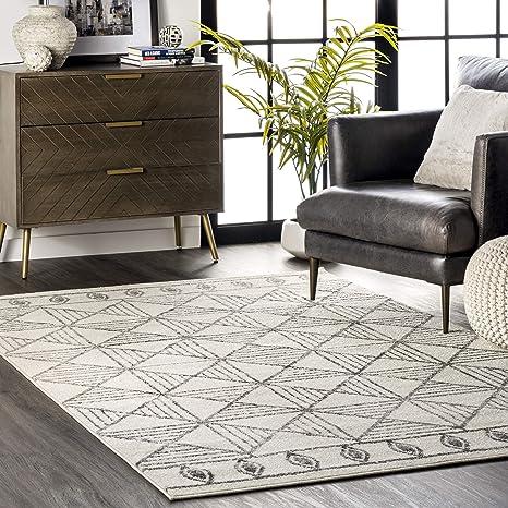 Amazon Com Nuloom Gem Retro Tiles Area Rug 8 X 10 Off White Furniture Decor