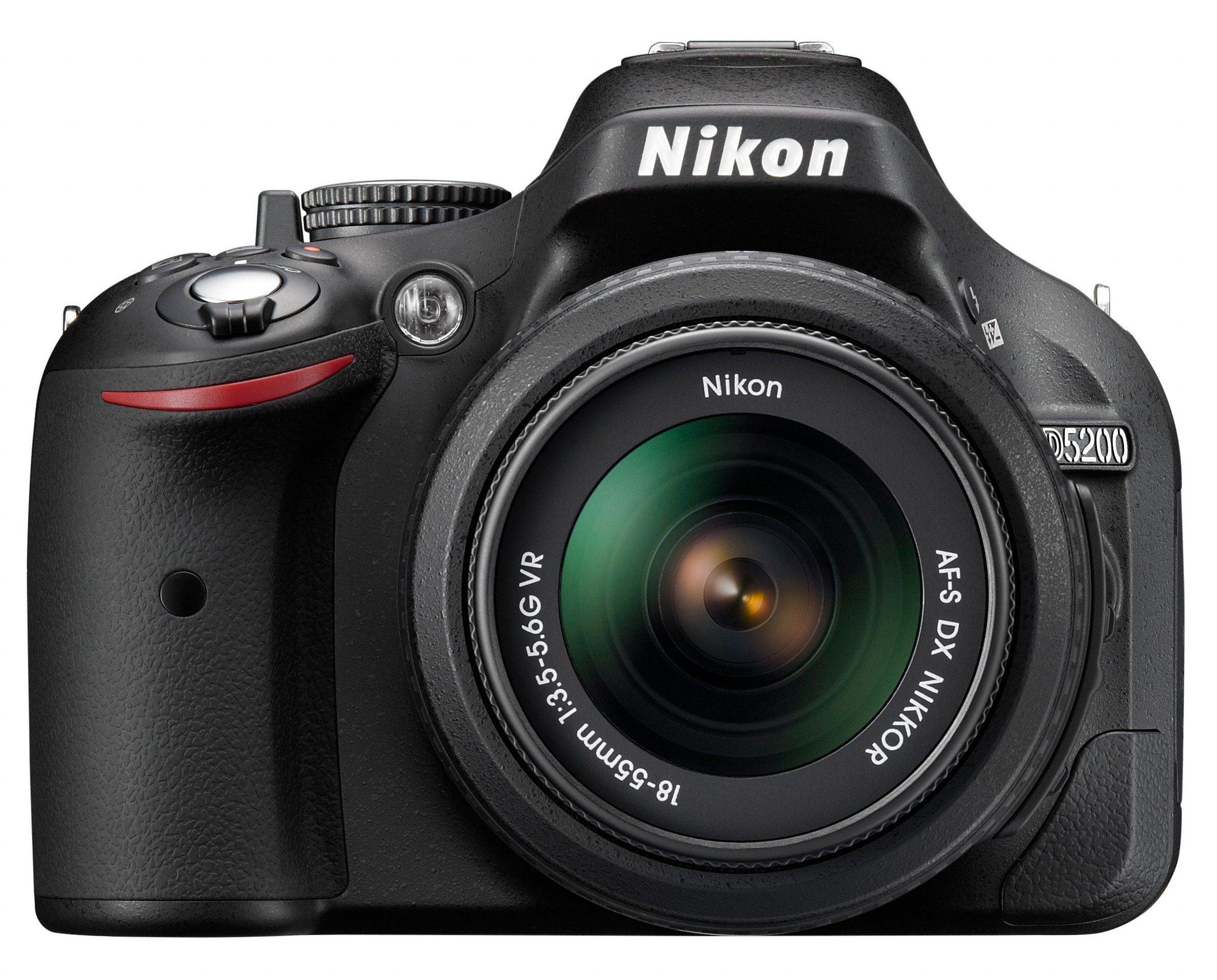 Nikon D5200 Fotocamera Digitale SLR, 24.1 Megapixel, Display TFT da 3 Pollici, Kit incluso Obiettivo AF-S DX 18-55mm VR [Versione EU] product image