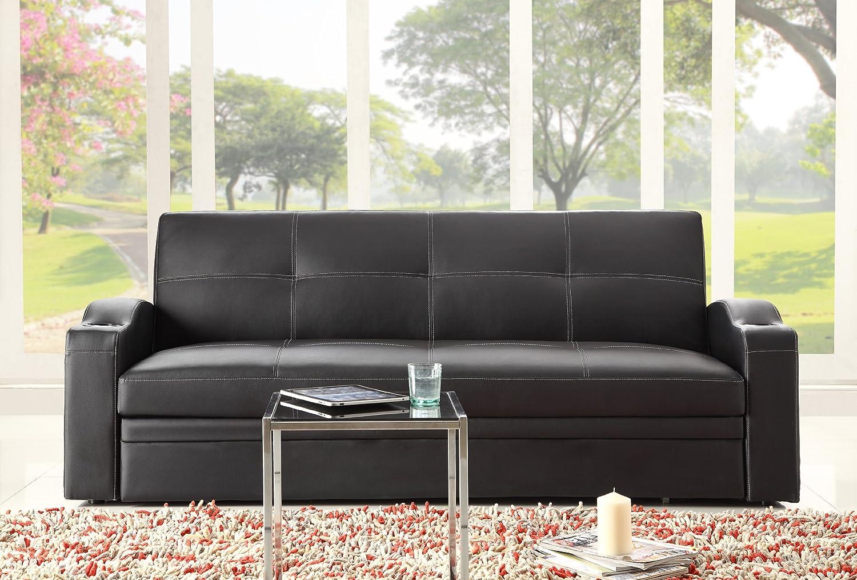 Amazon.com: Homelegance 4803BLK Convertible/Adjustable Sofa Bed, Black  Bi Cast Vinyl: Kitchen U0026 Dining