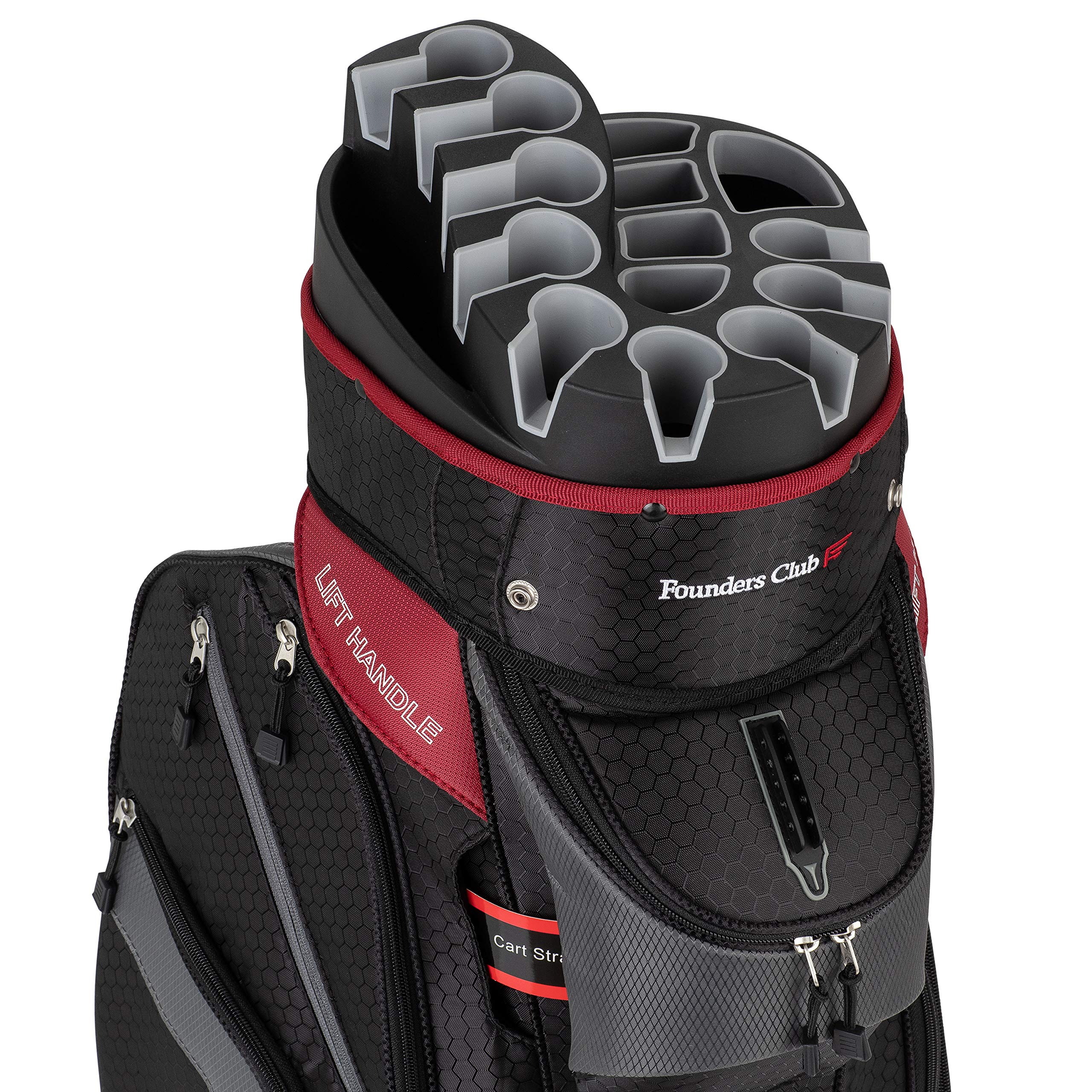 Founders Club Premium Cart Bag with 14 Way Organizer Divider Top (Charcoal and Black) by Founders Club