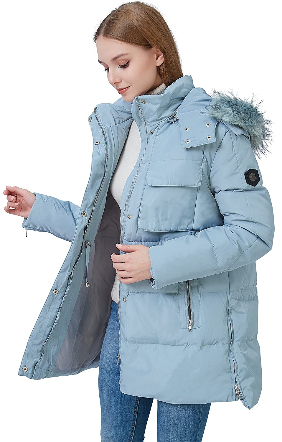 fashciaga Womens Faux Fur Hood Winter Quilted Coat Puffer Lightweight Down Parka Jacket