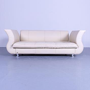 Amazon De Bretz Moon Designer Leder Sofa Creme Beige Dreisitzer