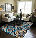 Contemporary Panal and Diamonds Rugs 5x8 for Living Room Clearance Blue Rugs for Bedroom 5x7