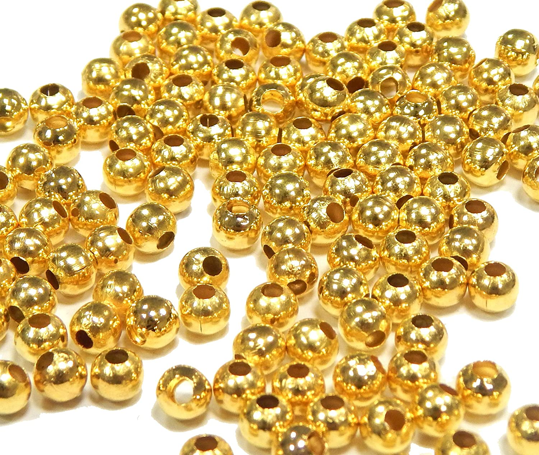 Perlas de metal entre piezas Tibet plata oro plata perlas Spacer 2 mm 3 mm 4 mm 5 mm 6 mm 8 mm redondo entre perlas para joyas cadena pulsera joyas piezas selección, latón, dorado, 4mm - 300 Stück