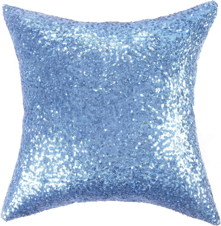 Kevin Textile Decorative Throw Pillow Covers 18x18 Sequins & Comfy Satin Pillow Cases,Hidden Zipper Design,1 Cover Pack,(Lake Blue)