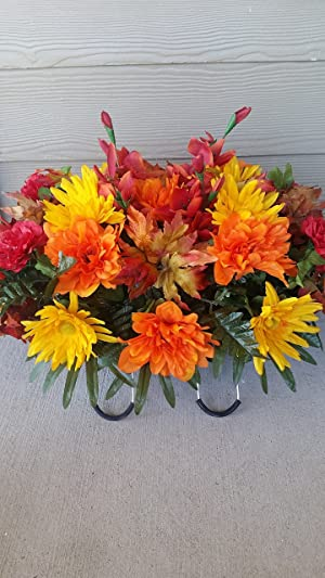 Fall Cemetery Flowers~fall flowers and lilies~headstone saddle arrangement~cemetery flower service~grave site decor~sympathy flowers~flowers for graves