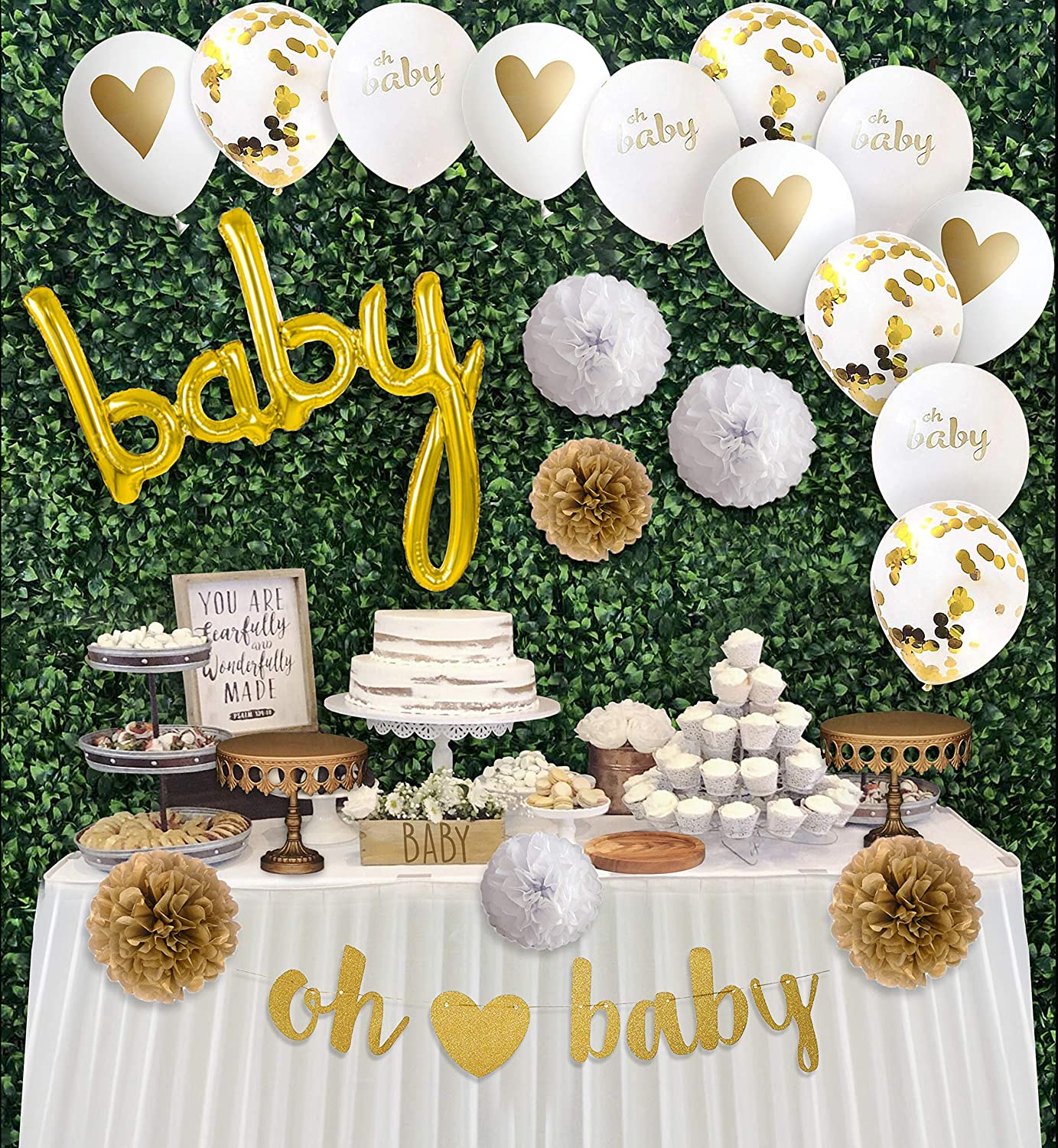 Baby Shower Decorations Gender Neutral Kit, Welcome Your Baby With This Gold White Party Decor Including Gold Banner, Baby Balloon, Paper Flowers Pom Poms, Confetti Balloons & Oh Baby Heart Balloons