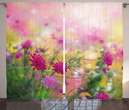 Amazon.com: Ambesonne Flower Curtains, Floral Garden Spring Time ...