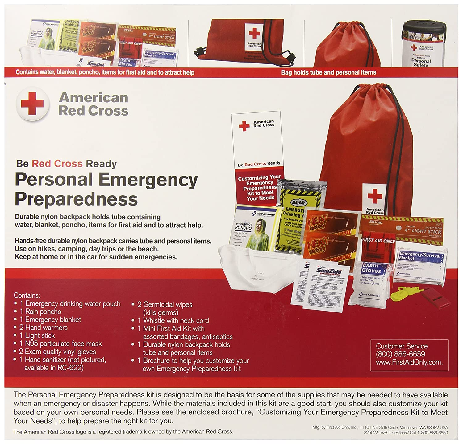 Amazon.com: First Aid Only Deluxe Personal Safety Emergency Pack ...