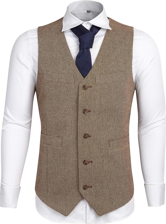 Airtailors Men's Slim Fit Tweed Suits Causal Vest Premium Wool Blend Waistcoat
