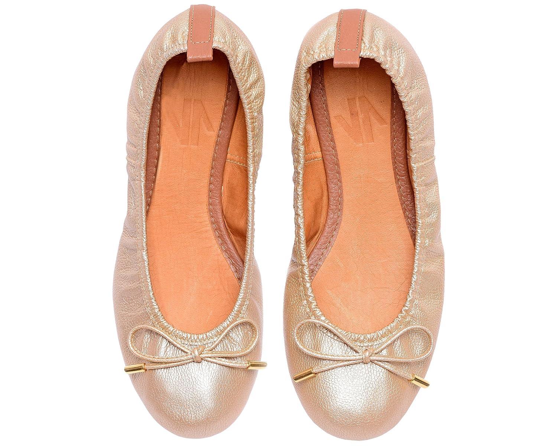 VIDALeather Daily Women Ballerina Colombian Leather Flats | Zapatillas de Mujer B074CGTK5Z 6 B(M) US|Gold
