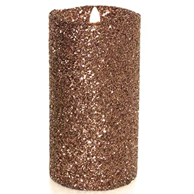 "Luminara Vintage Chocolate Glitter 7"" Flameless Pillar Candles w/Remote: Home Improvement"