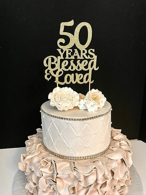 Monsety Decoración para Tarta de Boda o cumpleaños de 50 ...