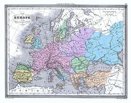 Historic Map | 1850 Europe en 814: Empires d\'Occident et d\'Orient ...