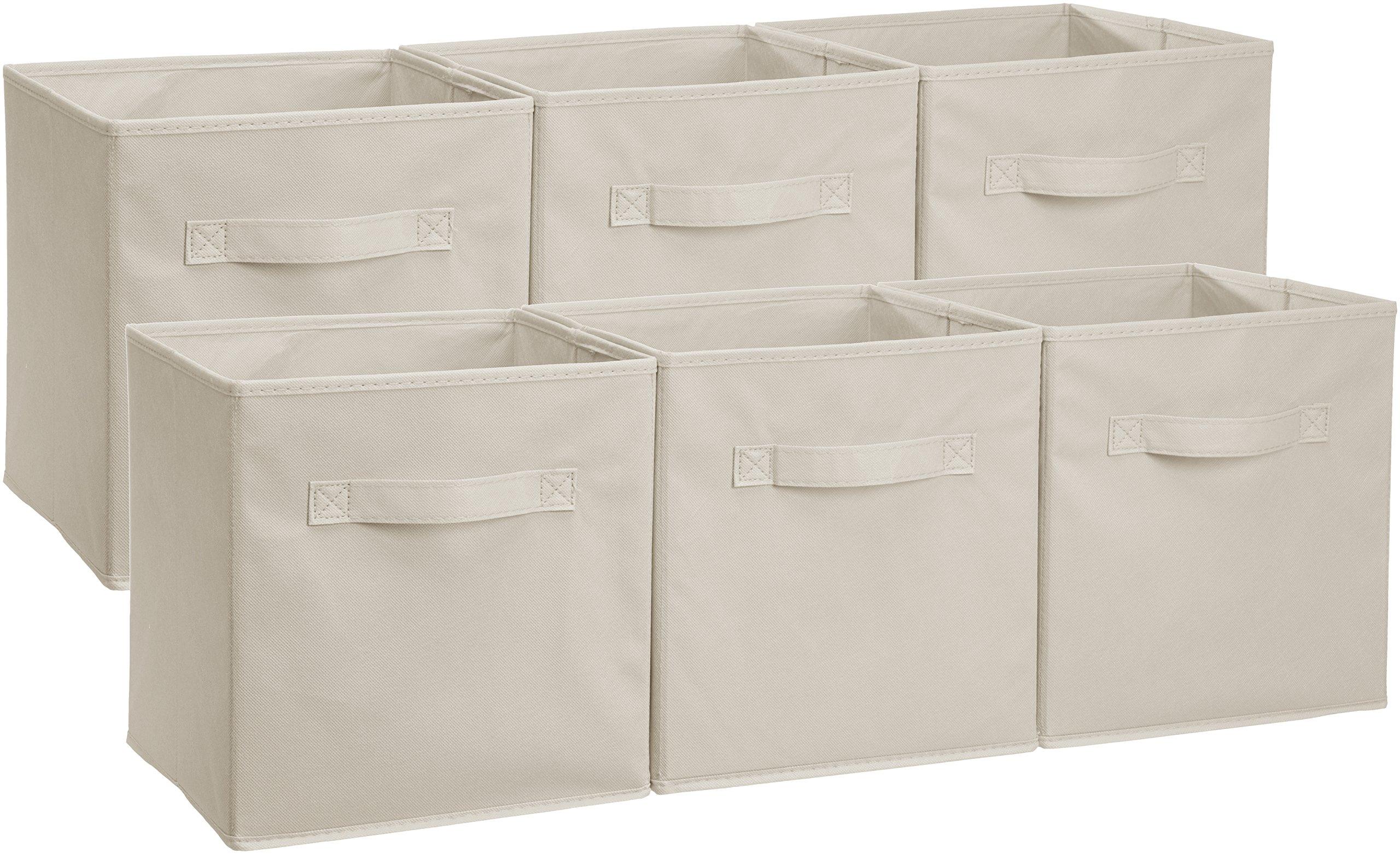 AmazonBasics Foldable Storage Cubes - 6-Pack, Beige