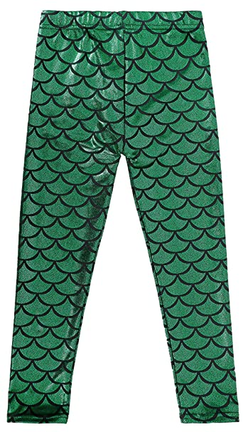 a457e18b34db21 Toppers Kids Girls Leggings Mermaid Pants Fish Scale Tights Halloween  Costume S