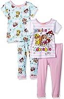 Nickelodeon Girls' Toddler Girls' Paw Patrol 4-Piece Cotton Pajama Set