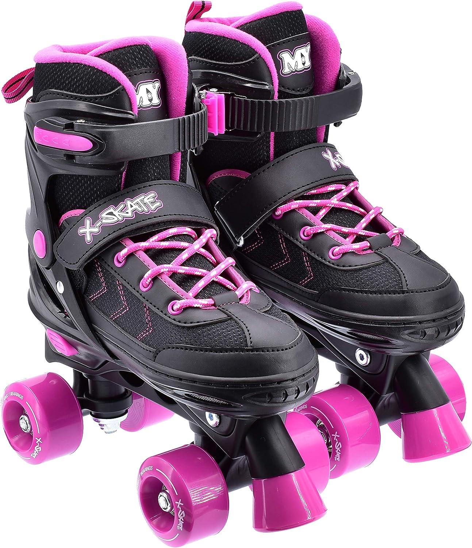 M.Y X-Skate Patines de Cuatro Ruedas Ajustables Negro y Rosa