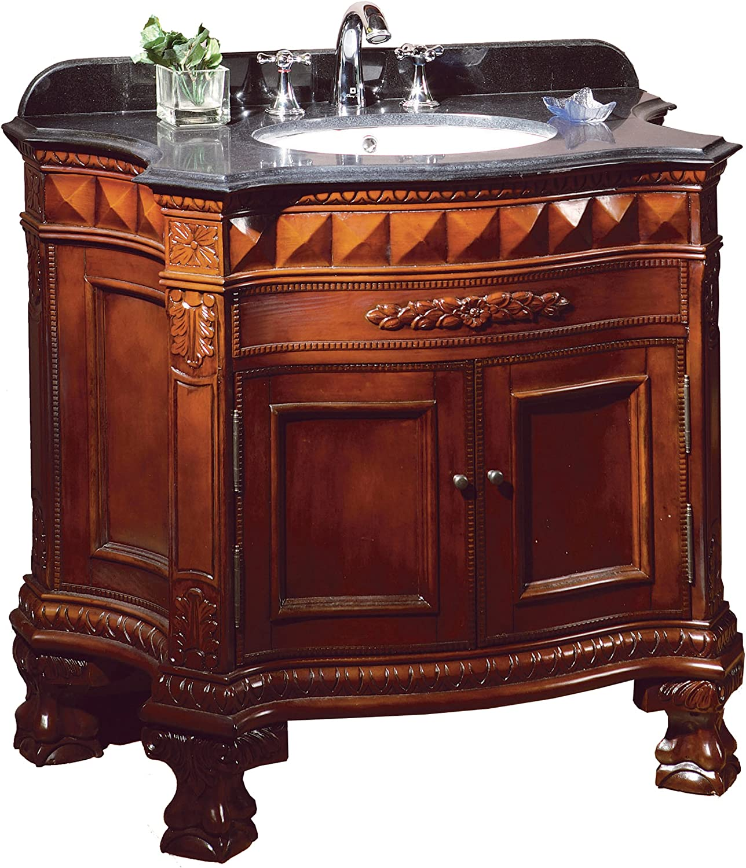 Ove Decors Buckingham 36 Bathroom 36-Inch Vanity Ensemble with Black Granite Countertop and Ceramic Basin, Dark Cherry