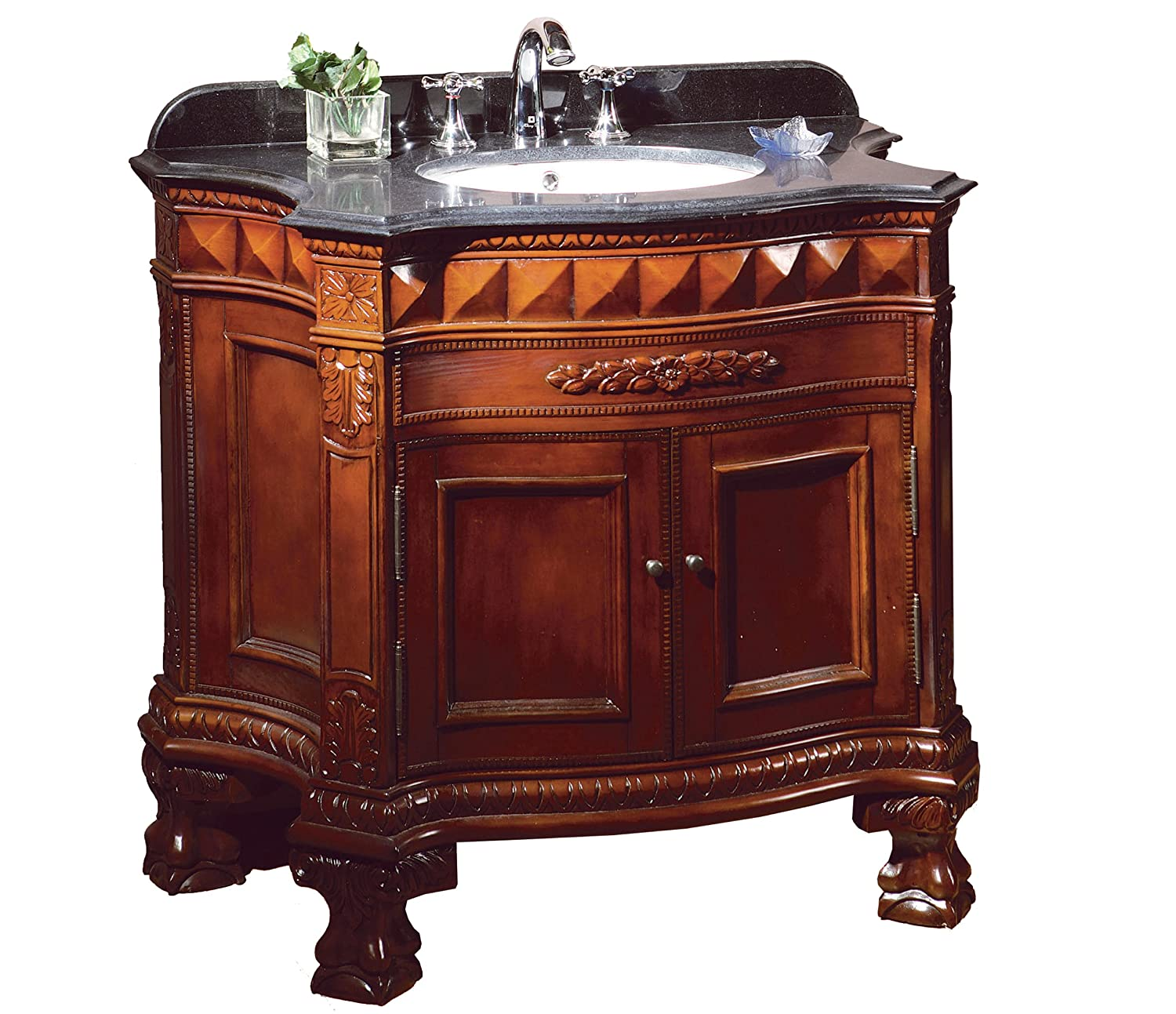 Ove Decors BuckinghamSGL VB 36-Inch Wide Vanity with Black Marble Countertop and Ceramic Basin, Dark Cherry
