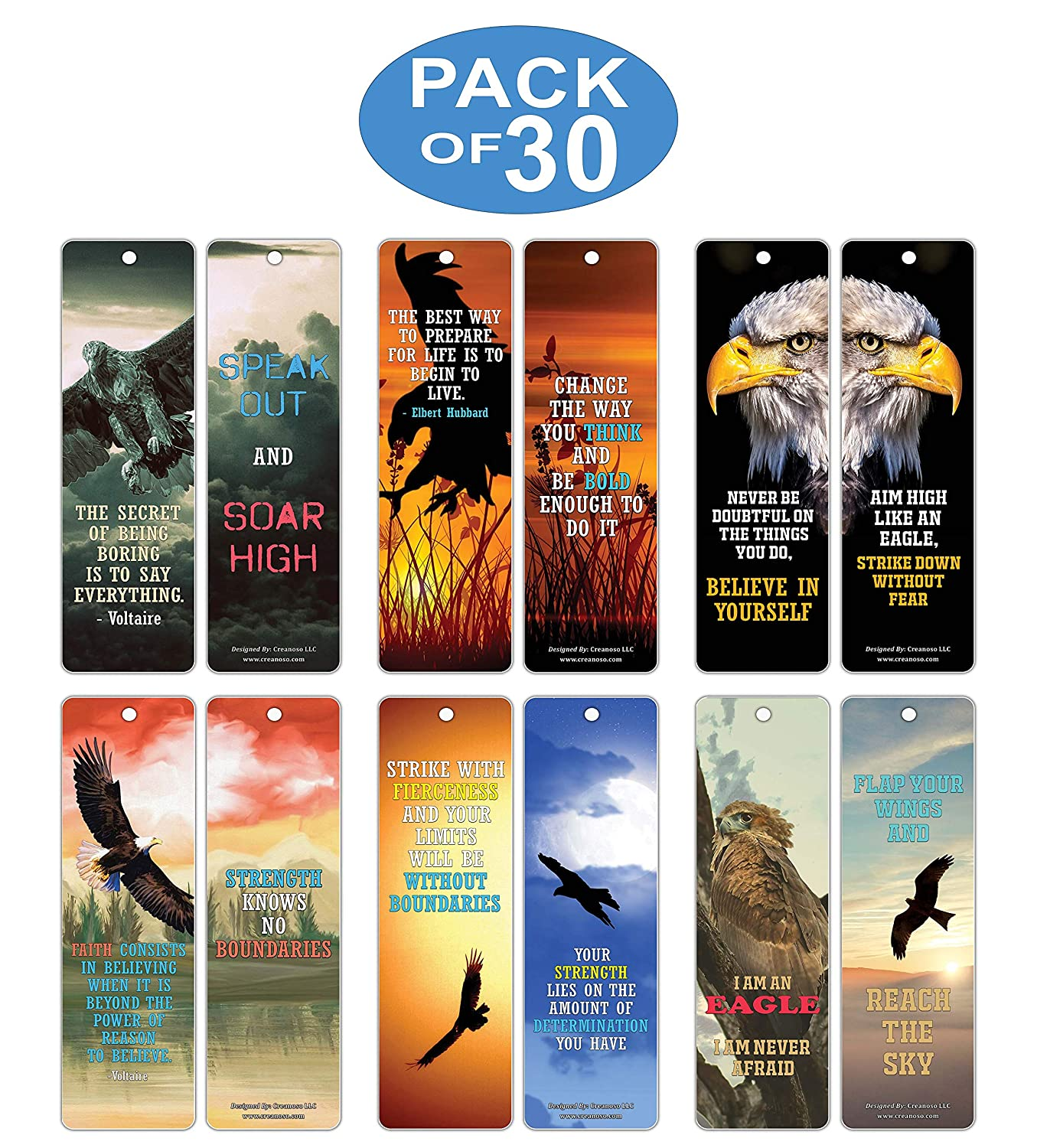 Leaders Creanoso Strong Character Eagle Bookmarks Coaches 12-Pack Premium Quality Set Women Inspiring Word Sayings Quotes for Men Adults Businessman Six Bulk Assorted Bookmarks Designs