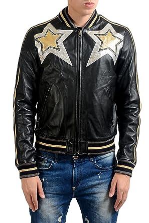 2df60b328 Amazon.com: Just Cavalli Men's 100% Leather Star Full Zip Bomber ...