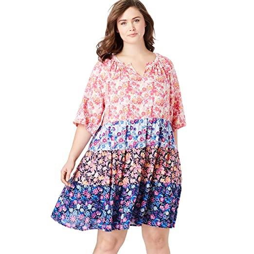 Woman Within Women\'s Plus Size Tiered Trapeze Dress at Amazon ...