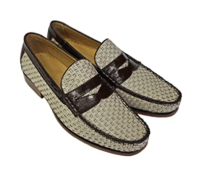 Bone With Brown Trim Basket Weave Loafer Franco
