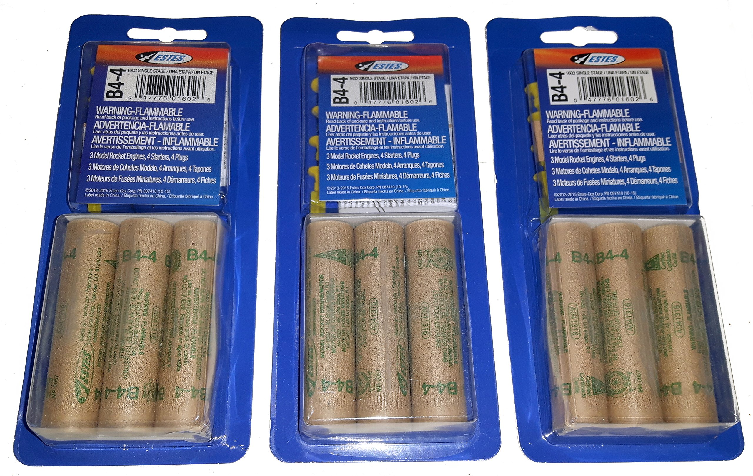 Estes B4-4 Mini Bulk Pack - 3 Packs of 3 for 9 Engines / Motors with Starters by Estes