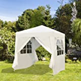 Outsunny 2m x 2m Garden Heavy Duty Pop Up Gazebo Marquee Party Tent Wedding Awning Canopy New With free Carrying Case White + Removable 2 Walls 2 Windows