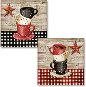 Gango Home Decor Country-Rustic Farmhouse Kitchen Decor | Brown, Red & Cream Stacked Coffee Cup & Barnstar by Paul Brent (Printed on Paper); Two 12x12in Unframed Paper Posters