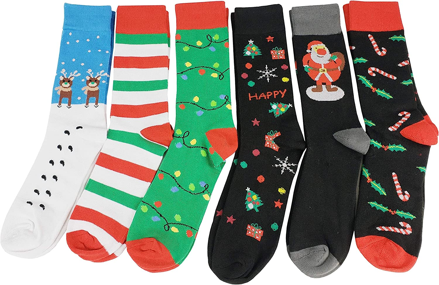6 Pairs Men Colorful Fashion Design Dress socks 10-13 12 Pairs