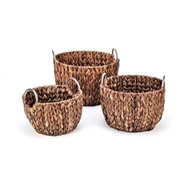 Set of 3 Round Hyacinth Baskets with Stainless Steel Handles-Rich Chocolate Finish-By Trademark Innovations