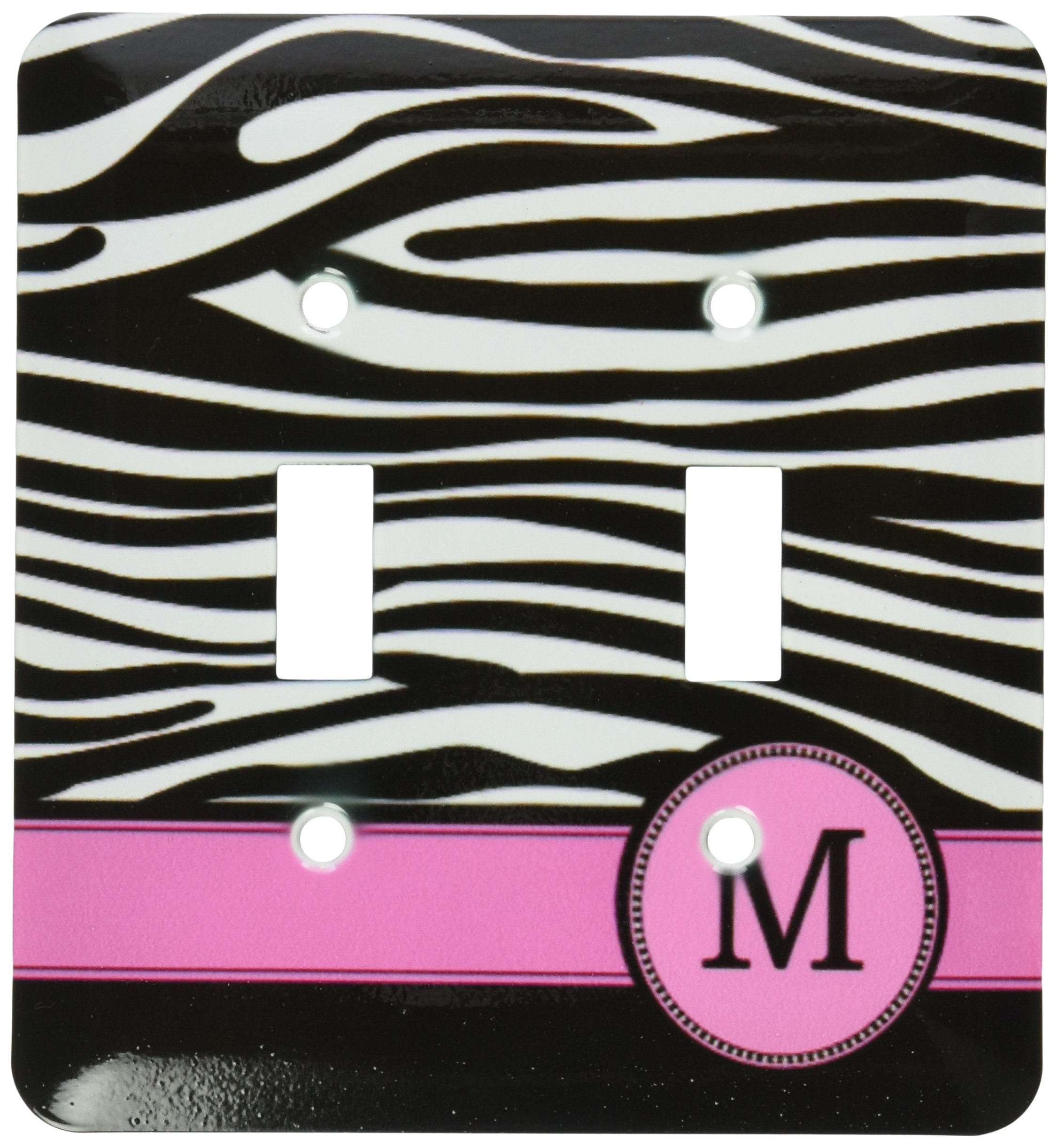 3dRose LLC lsp_154284_2 Letter M Monogrammed Black and White Zebra Stripes Animal Print with Hot Pink Personalized Initial Double Toggle Switch by 3dRose