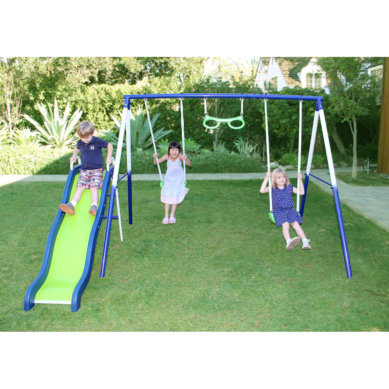 amazon com sierra vista metal swing and slide set for children