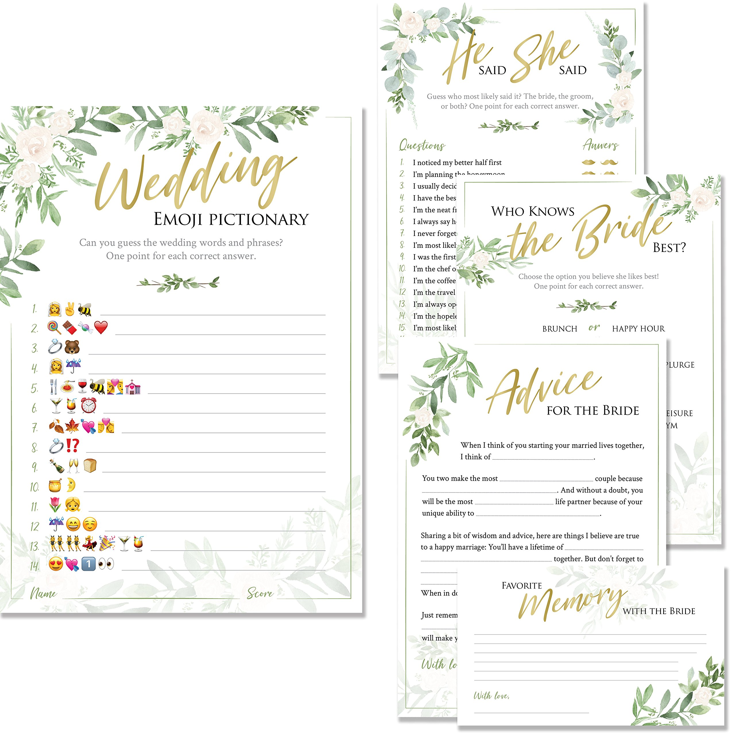 Bridal Shower Games | Set of 5 Games | 50 Sheets Each | Floral Rustic Greenery Themed | Includes Marriage Advice Cards, Emoji Game, and Favorite Memory