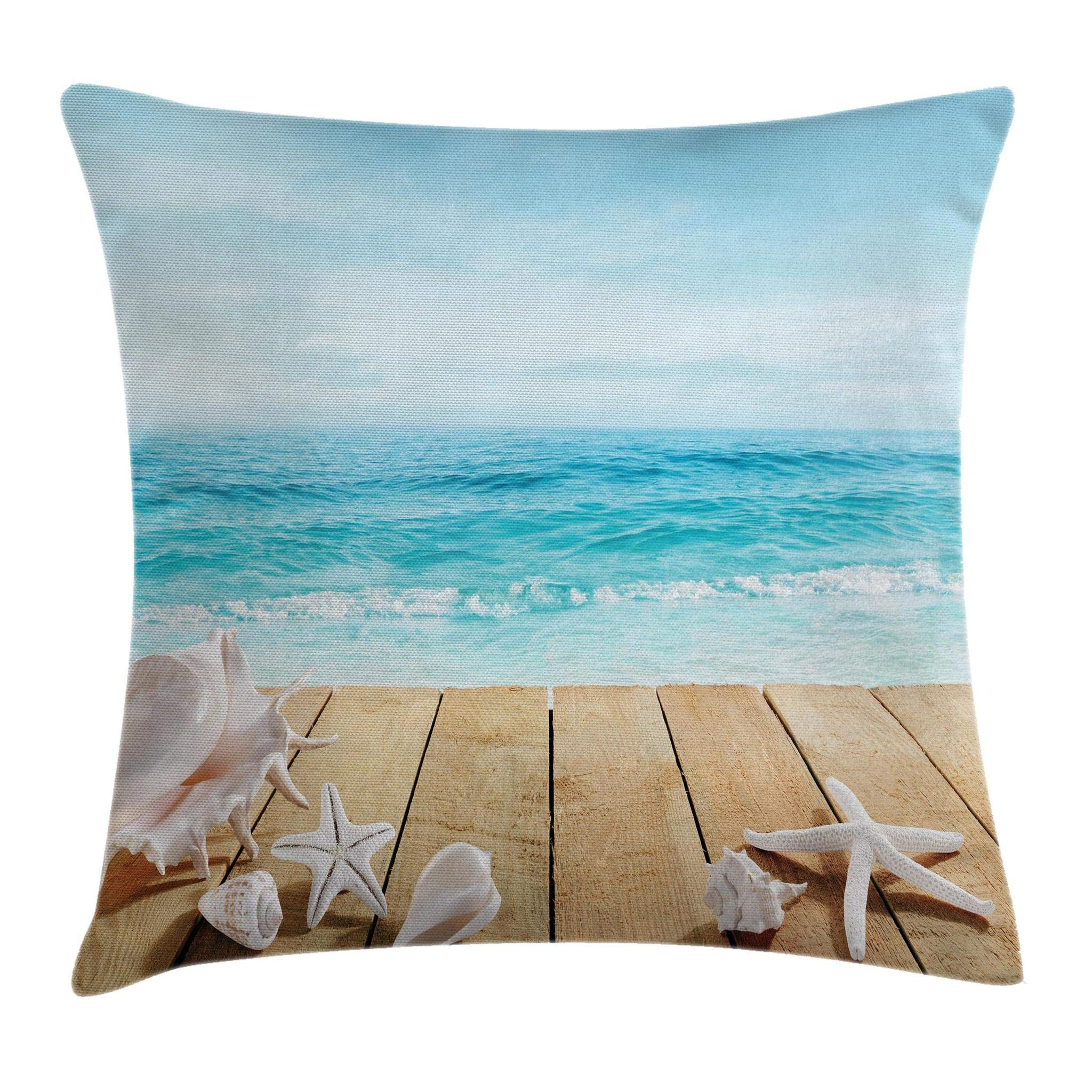 Ambesonne Ocean Throw Pillow Cushion Cover, Wooden Boardwald Seashells Resort Sunshine Maldives Deck Waves Beach Theme, Decorative Square Accent Pillow Case, 18 X18 Inches, Sky Blue and Beige