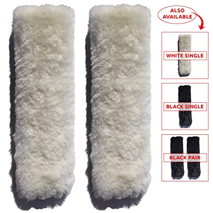 SUBANG 2 Pcs Seat Belt Covers Soft Faux Sheepskin Shoulder Pads Black