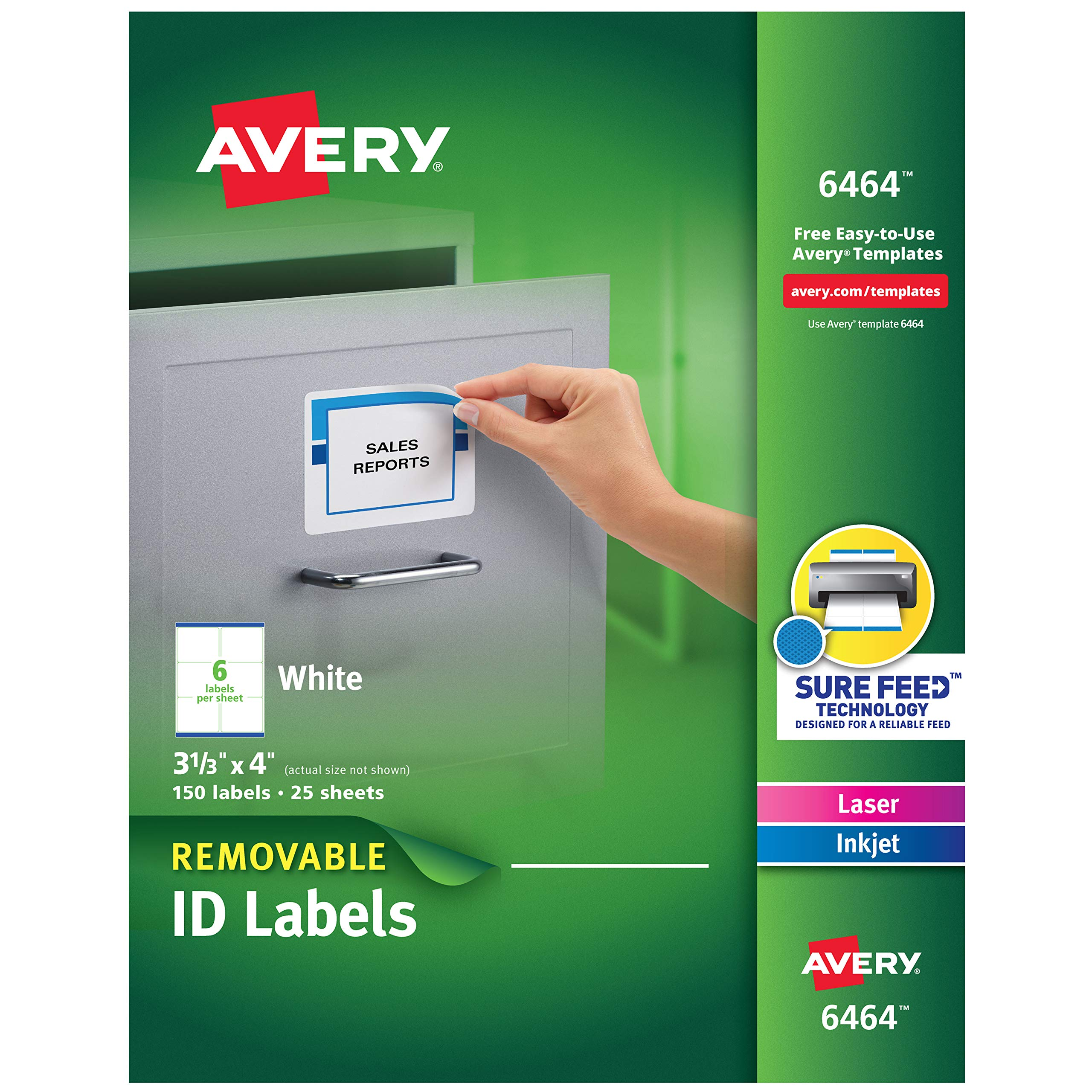 Avery Removable 3-1/3 x 4 Inch White ID Labels 150 Pack (6464) by AVERY