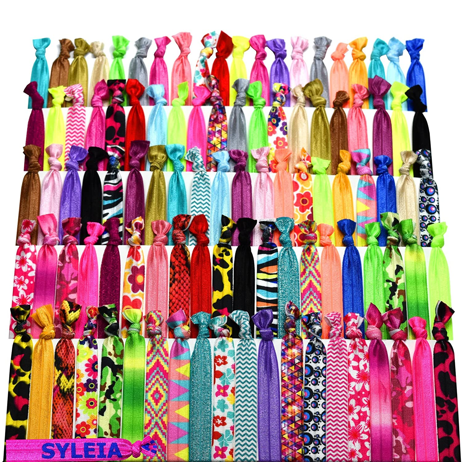 Syleia 100 Hair Ties - Printed Patterns and Solid Colors - Plus One Bonus Hair Tie - Elastic Ponytail Holders No Crease Hand Knotted Fold Over Assorted 100 Pack