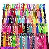 Amazon Price History for:Syleia 100 Hair Ties - Printed Patterns and Solid Colors - Plus One Bonus Hair Tie - Elastic Ponytail Holders No Crease Hand Knotted Fold Over Assorted 100 Pack