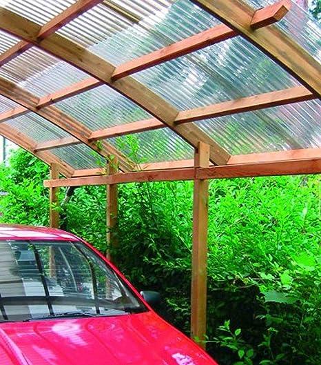 Conwy - Cochera individual con techo de PVC ondulado ...