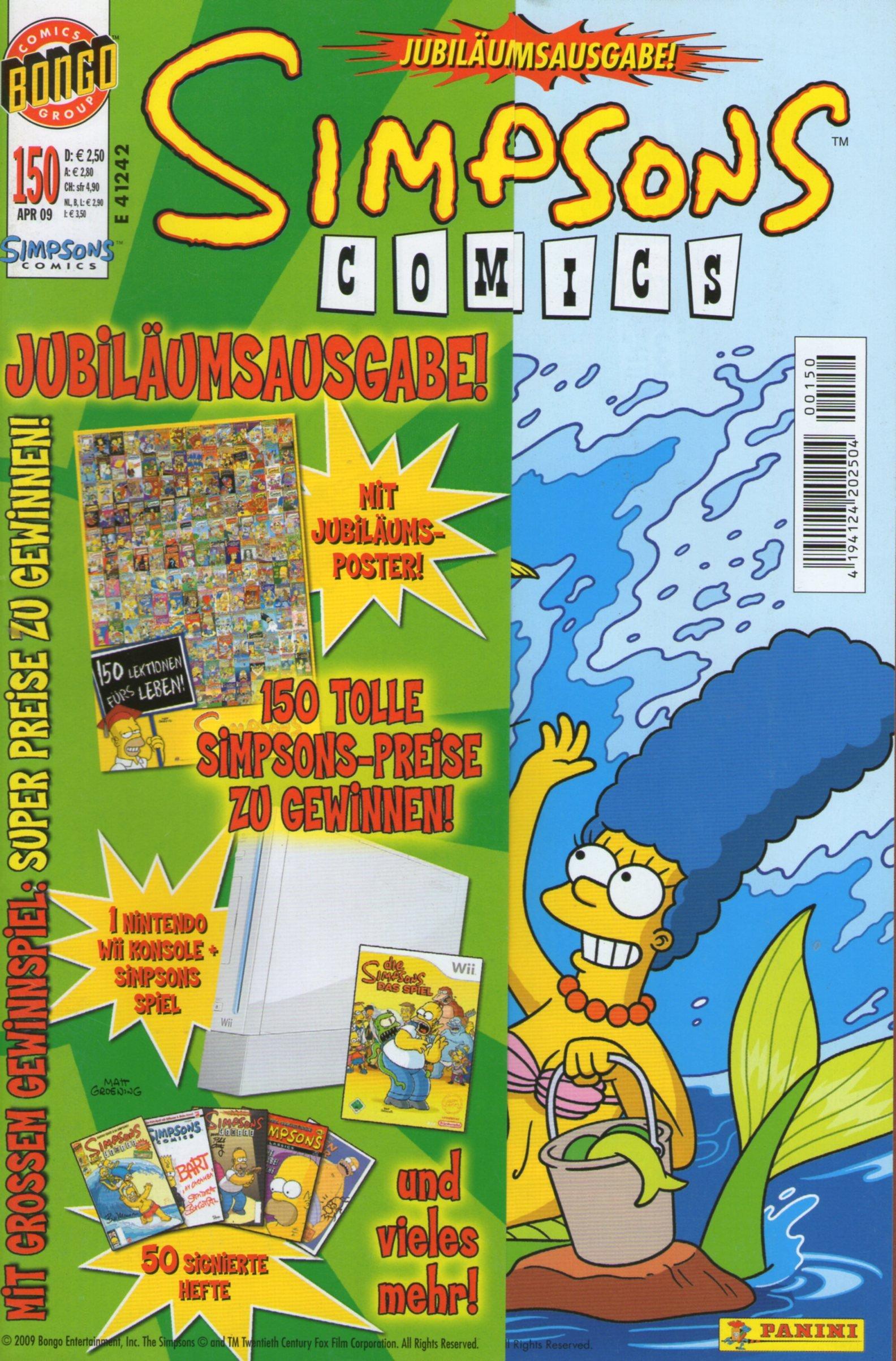 SIMPSONS Comics # 150 - JUBILÄUMSAUSGABE - Comic inkl. Poster PANINI 2009 (Simpsons)