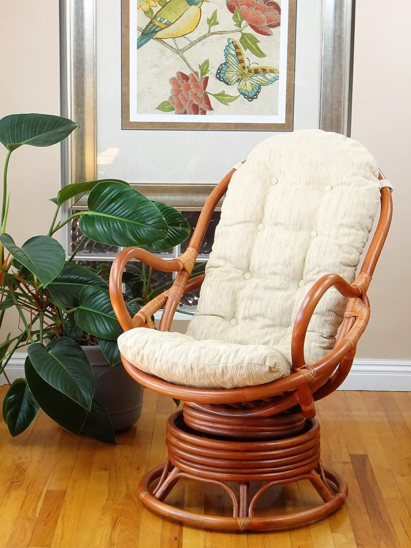 Java Lounge Swivel Rocking Chair With Cream Cushion Natural Rattan Wicker Handmade Colonial Furniture Decor
