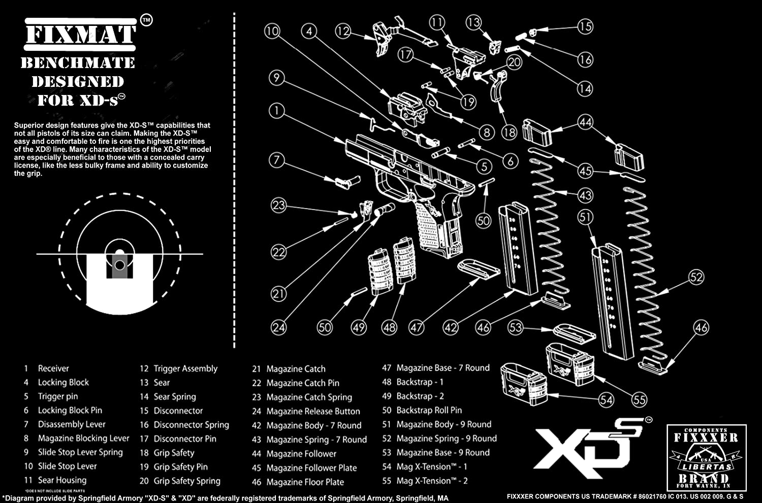 Springfield Xds Diagram Fixmat Benchmate 11 X 17 Parts Of A Handgun Cleaning Mat Featuring Black Sports Outdoors