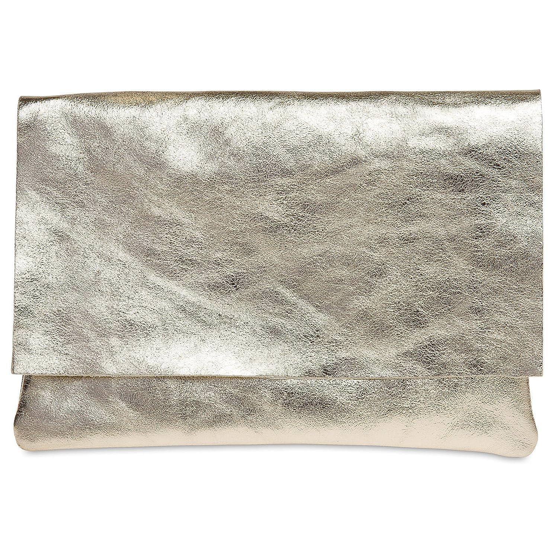 CASPAR TL770 große Damen Metallic Envelope Leder Clutch Tasche Abendtasche 4251085291692