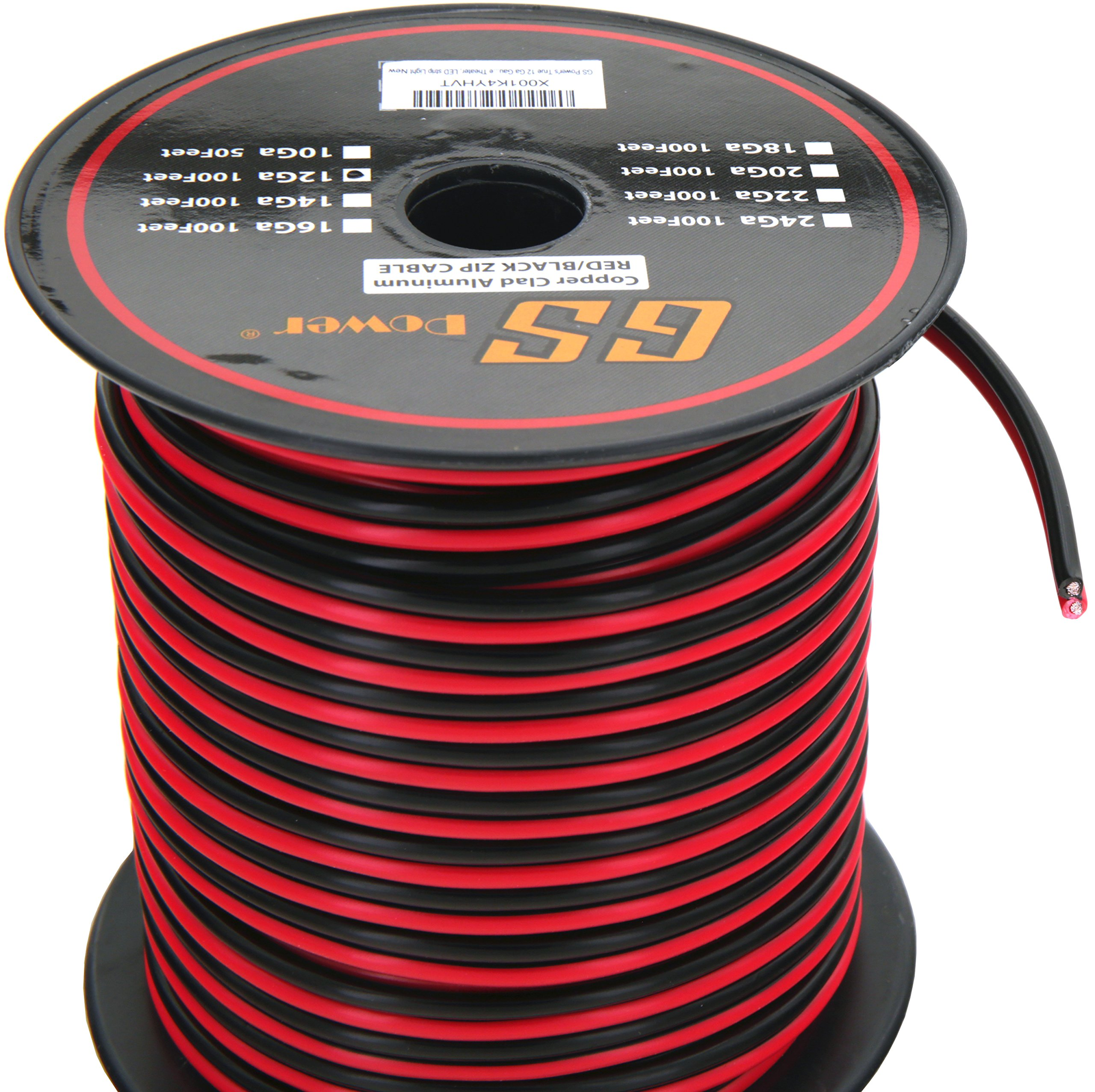 GS Power 12 Ga Gauge 100 Feet CCA Copper Clad Aluminum Red/Black 2 Conductor Bonded Zip Cord Speaker Cable for Car Audio, Home Theater, LED Light, Model Train, Amplifier, Trailer Harness Wiring by GS Power