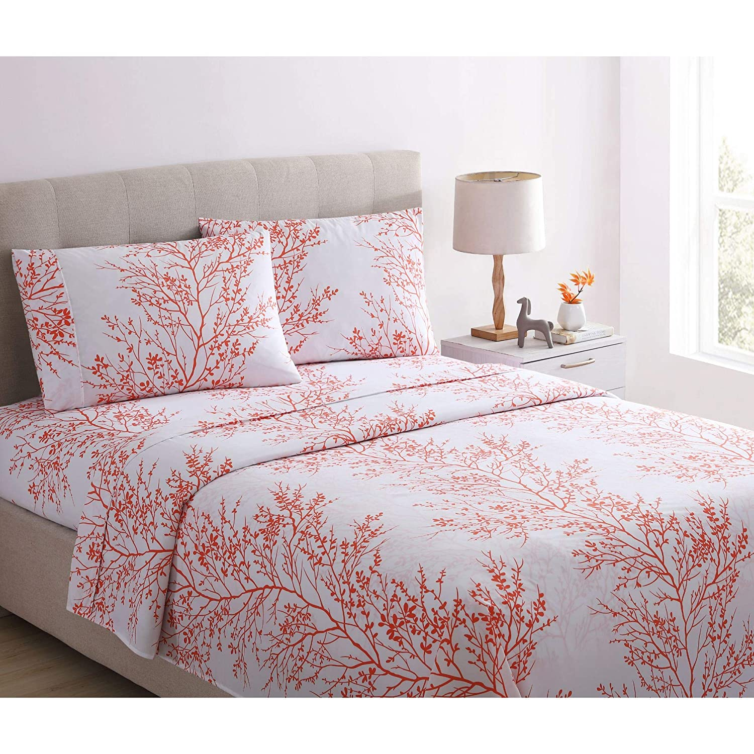 Spirit Linen Home 4pc Bed Sheets Set Printed Beautiful Foliage Design 1800 Bedding Soft Microfiber Sheet with Fitted Sheet and Pillowcases (King, Coral White)