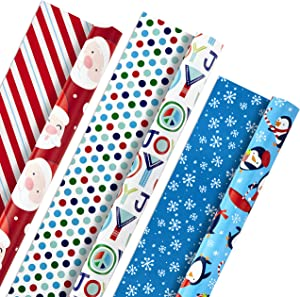 Hallmark Christmas Reversible Wrapping Paper, Kids (Pack of 3, 120 sq. ft. ttl) Santa, Joy, Penguins, Snowflakes, Polka Dots, Stripes